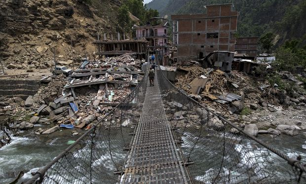Collapsed buildings after the Nepal earthquake